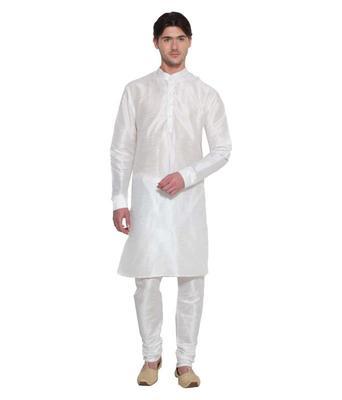 White Silk Ethnic Indian Traditional Mens Festive Wear Kurta Pyjama