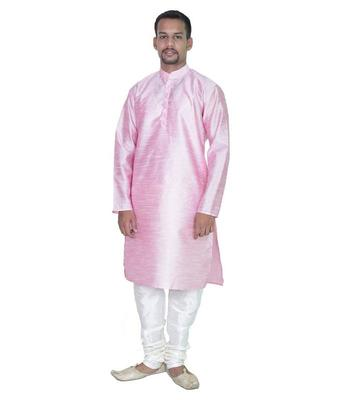 Pink Silk Ethnic Indian Traditional Mens Festive Wear Kurta Pyjama