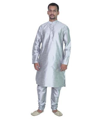 Silver Silk Ethnic Indian Traditional Mens Festive Wear Kurta Pyjama