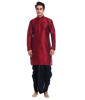Red Silk Ethnic Indian Traditional Mens Festive Wear Dhoti Kurta
