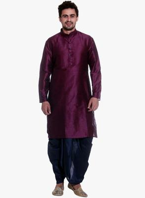 Pink Silk Ethnic Indian Traditional Mens Festive Wear Dhoti Kurta