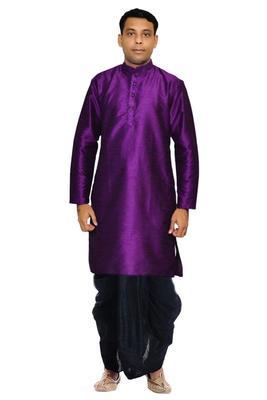 Purppl Silk Ethnic Indian Traditional Mens Festive Wear Dhoti Kurta