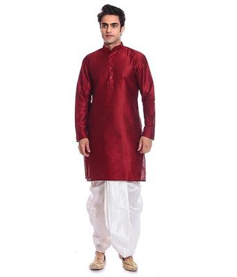 Maroon Silk Ethnic Indian Traditional Mens Festive Wear Dhoti Kurta