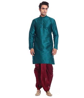 Green Silk Ethnic Indian Traditional Mens Festive Wear Dhoti Kurta