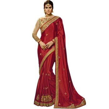 Dark red embroidered chiffon saree with blouse