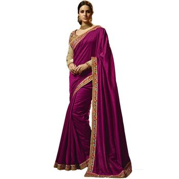 Dark Magenta Embroidered Silk Saree With Blouse