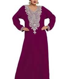 Purple Embroidered Zari Work Islamic Kaftan