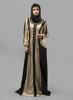 Multicolor Lace work Crepe , Brasso Fabric Islamic Maxi Arabian Style Casual Daily wear Abaya with Hijab