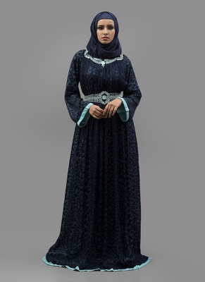 Blue Thread Work Crepe , Brasso Fabric Islamic Maxi Arabian Style Casual Daily Wear Abaya With Hijab