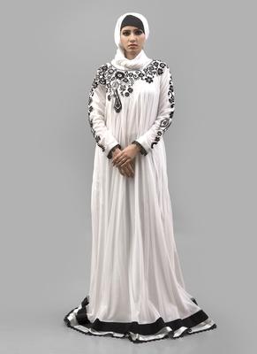 White Crepe Islamic Maxi Arabian Style Casual Daily wear Abaya with Hijab