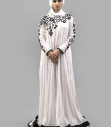 White Thread Work Crepe , Net Fabric Islamic Maxi Arabian Style Casual Daily wear Abaya with Hijab