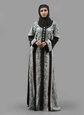 Multicolor Lace Work Crepe , Brasso Fabric Islamic Maxi Arabian Style Casual Daily Wear Abaya With Hijab