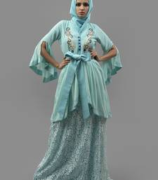 Aqua Blue Thread Work Crepe , Brasso Fabric Islamic Maxi Arabian Style Casual Daily wear Abaya with Hijab