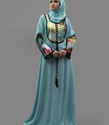 Blue Lace Work Digital Print , Creap Fabric Islamic Maxi Arabian Style Casual Daily Wear Abaya With Hijab
