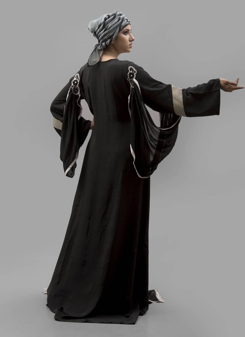 Black Thread Work Crepe Georgette Silk Fabric Islamic