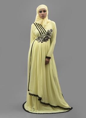 Yellow Thread Work Crepe , Georgette Fabric Islamic Maxi Arabian Style Casual Daily Wear Abaya With Hijab