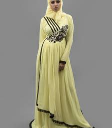 Yellow Thread Work Crepe , Georgette Fabric Islamic Maxi Arabian Style Casual Daily Wear Abaya With Hijab