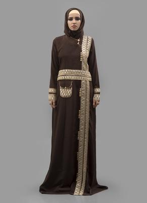 Multicolor Lace Crepe , Brasso Fabric Islamic Maxi Arabian Style Casual Daily Wear Abaya With Hijab
