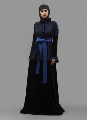 Blue  Crepe , Brasso Fabric Islamic Maxi Arabian Style Casual Daily Wear Abaya With Hijab