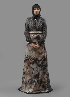Multicolor Lace Digital Print , Creap, Brasso Fabric Islamic Maxi Arabian Style Casual Daily Wear Abaya With Hijab