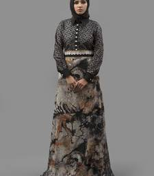 Multicolor Lace Digital Print , Creap, Brasso Fabric Islamic Maxi Arabian Style Casual Daily Wear Abaya With Hijab