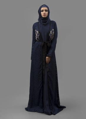Blue Thread Work Crepe , Brasso Fabric Islamic Maxi Arabian Style Casual Daily Wear Abaya With Hijab
