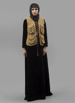 Multicolor Lace Crepe, Velvet Fabric Islamic Maxi Arabian Style Casual Daily Wear Abaya With Hijab