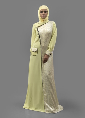 Yellow  Crepe , Georgette, Brasso Fabric Islamic Maxi Arabian Style Casual Daily Wear Abaya With Hijab