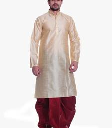 Buy Gold Silk Ethnic Indian Traditional Mens Festive Wear Dhoti Kurta kurta-pajama online