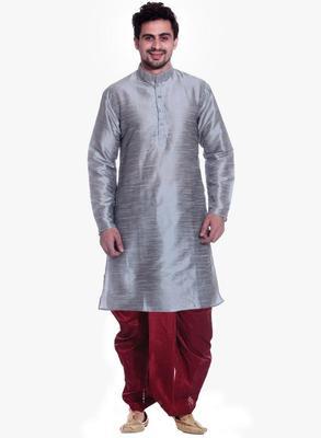 Gray Silk Ethnic Indian Traditional Mens Festive Wear Dhoti Kurta
