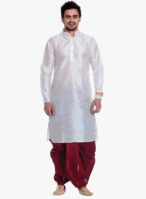 White Silk Ethnic Indian Traditional Mens Festive Wear Dhoti Kurta