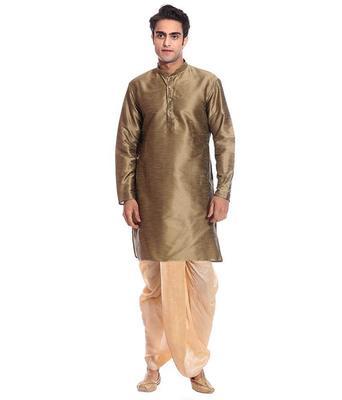 Copper Silk Ethnic Indian Traditional Mens Festive Wear Dhoti Kurta