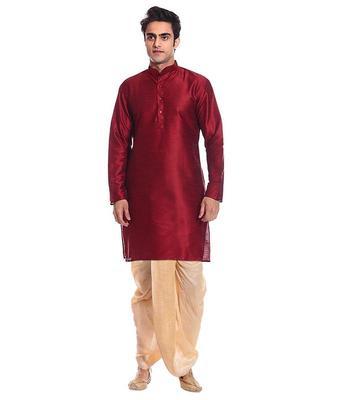 Maroon Silk Ethnic Indian Traditional Mens Festive Wear Dhoti Kurta