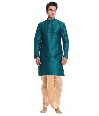 Green Silk Ethnic Indian Traditional Mens Festive Wear Dhoti Kurta