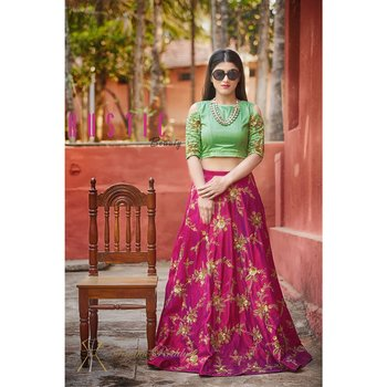 Dark-pink Embroidered silk Designer lehenga Choli