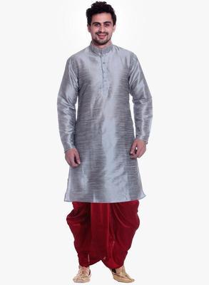 Grey Silk Ethnic Indian Traditional Mens Festive Wear Dhoti Kurta