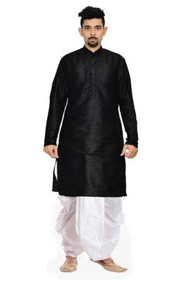 Black Silk Ethnic Indian Traditional Mens Festive Wear Dhoti Kurta