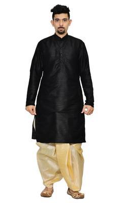 Black Silk Ethnic Indian Traditional Mens Festive Wear Dhoti Kurta