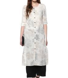 Off-white cotton ethnic-kurtis