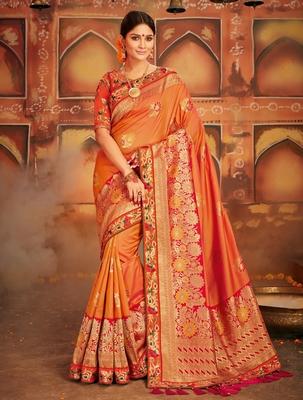 4a967d8dc5 Orange woven banarasi silk saree with blouse - Monjolika - 2537916