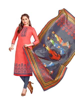 Peach embroidered chanderi salwar