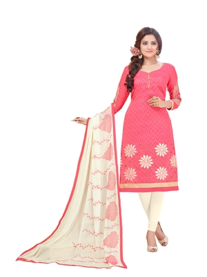 Light-pink embroidered cotton salwar