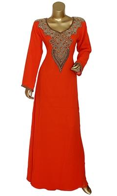Orange Stone & Beads Chiffon Islamic Style Arabian Gown Festive Party Wear V Neck Kaftan