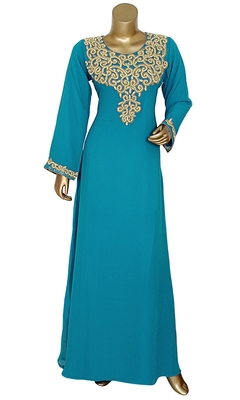 Turquoise Blue Stone & Beads Chiffon Islamic Style Arabian Gown Festive Party Wear Round Neck Kaftan
