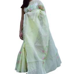 Buy  Shadow Work Saree in Kota Cotton- Light Yellow kota-saree online