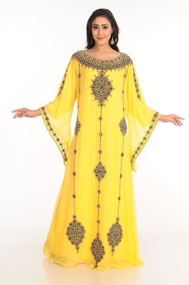 df8fb1be77 Yellow Zari Work Stones   Beads Embellish GEORGETTE Islamic Style Arabian  Maxi Partywear Kaftan