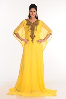 35ebbaef78 Yellow Zari Work Stones   Beads Embellish GEORGETTE Islamic Style Arabian  Maxi Partywear Kaftan - AlMehraan Fashion - 2538471