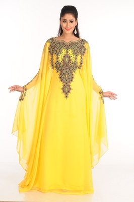 Yellow Zari Work Stones & Beads Embellish GEORGETTE  Islamic Style Arabian Maxi Partywear Kaftan