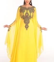 647cb2e4dc6d Yellow Zari Work Stones & Beads Embellish GEORGETTE Islamic Style Arabian  Maxi Partywear Kaftan