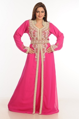 Pink Zari Work Stones & Beads Embellish Georgette  Islamic Style Arabian Maxi Partywear Kaftan